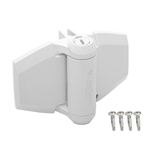 D&D Technologies TruClose TCA3L2S3WTS Regular Duty Gate Hinge, Self Closes Gates Up to 66 lb, Tension Adjustable, for Square Post Vinyl or Wood Gates, (White) (Spring Hinges For Gates)