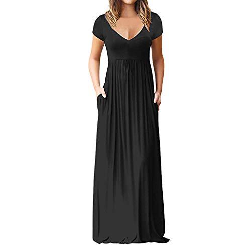 Sunhusing Women's Solid Color V-Neck Short-Sleeve Mopping Sundress Bohemian Beach Style Long Maxi Dress Black
