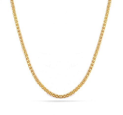 Stainless Steel 2mm Box Chain Necklace (Gold Plated) - 6