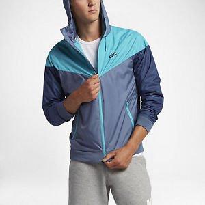 (Nike Mens Windrunner Hooded Track Jacket Ocean Fog/Omega Blue 727324-404 Size X-Large)
