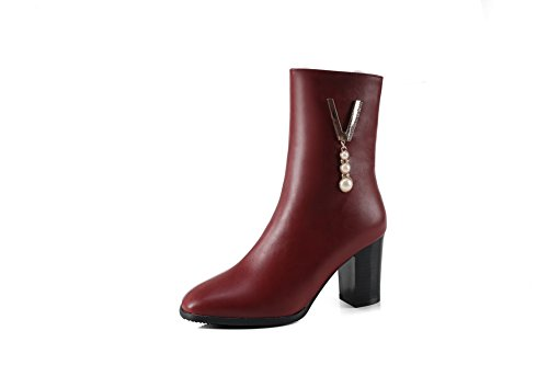 Womens Warm 4 Closure No Lining Red 1TO9 Leather Kitten Urethane Charms Boots Dress Heel UK Smooth Waterproof Closed Toe MNS02602 Boots Fpnn8qdA