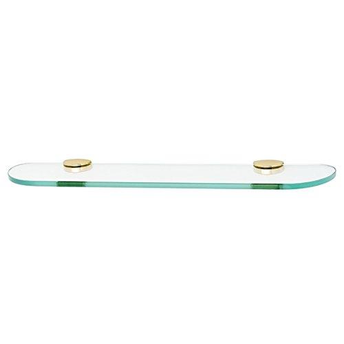 Polished Brass Euro Glass - Alno A8950-24-PB Modern Euro Glass Shelf with Brackets, Polished Brass