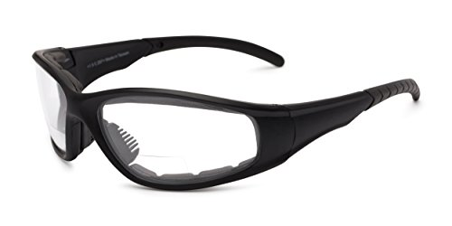 Readers.com Clear Bifocal EVA Safety Goggles +2.00 Black Frame with Clear Lenses Padded Bifocal Safety Goggles & Glasses Clear Lenses Sport & Wrap-Around Reading (Wrap Goggles)