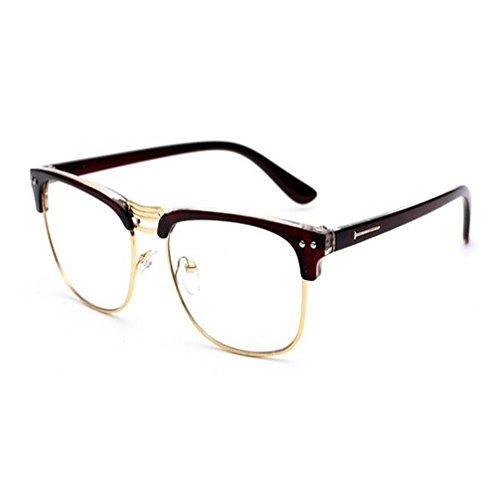 Meijunter Semi-sans monture Ordinateur Des lunettes Vintage Lentille claire Lumière bleue Filtre Lunettes Hommes/Femmes