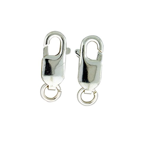 - Sterling Silver Large Lobster Claw Clasp with Open Jump Ring, 6 x 16mm
