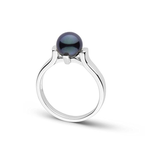 (Stark Collection Black Akoya Cultured Pearl Ring - Sterling Silver - Ring Size 5)