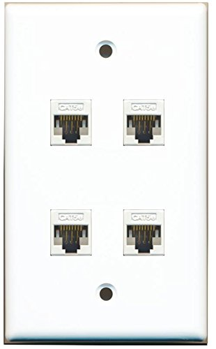 Quick Wall Connect Cat5e Plate - RiteAV 1 Gang 4 Port Cat5e Wall Plate - White