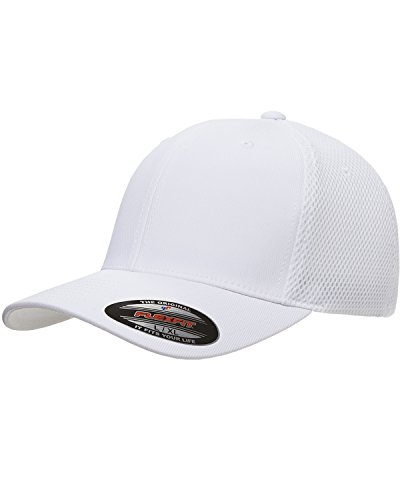 (Flexfit 6533 Ultrafibre & Airmesh Fitted Cap, White - Large/X-Large)