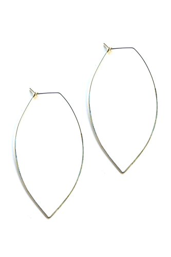 April Soderstrom Featherweight Large Leaf Hoop Earrings, Silver Silver Leaf Chips
