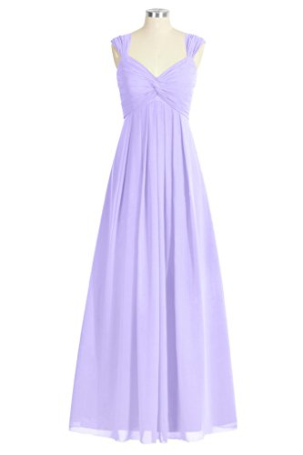 Tivansi Women's Long Chiffon Straps V-neck Bridesmaid Dresses lilac Size 18