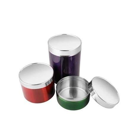 Satyaki Steels Stainless Steel Serving Canister for Home Table Set of 3  Multicoloured