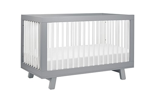 Babyletto Hudson 3-in-1 Convertible Crib with Toddler Bed Conversion Kit, Grey / White