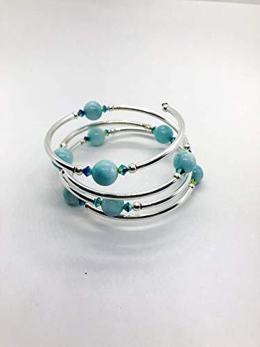 Bracelet - Aquamarine Gemstones - Grade A - Sm/Med Size - Silver Plate - Crystal Accents ()