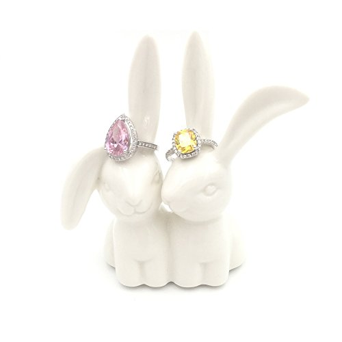 OYLZ Ceramic Rabbit Bunny Jewelry Ring Holder,Engagement Ring and Wedding Ring Holder Stand Display ()