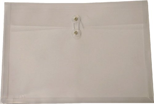 Filexec Poly envelope, Legal size, Side load, Button string closure,Clear (Pack of 6) (50068-15103) ()