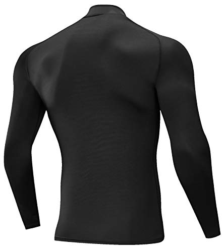 SILKWORLD Men's 3 Pack Compression Shirt Dry Fit Long-Sleeved Sports Baselayer (SW82_1 Piece: Black, Small (Fit Chest 30''-33'')) by SILKWORLD (Image #1)