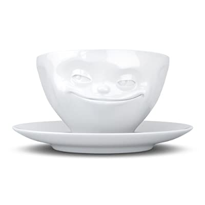 Fiftyeight TV Cups, for Coffee and Cappuccino, Grinning, with Saucer, Porcelain, White, 200ml
