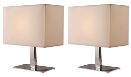 Light Accents 1040TL-20 Bedroom Metal Table Lamp Set Chrome Finish with Off White Shades (2-Pack) (Chrome Table Lamp Lamp)