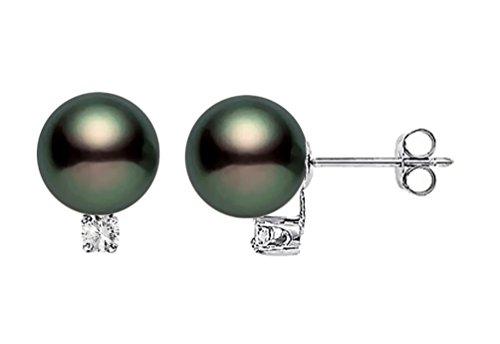 14k White Gold AAAA Quality Black Akoya Cultured Pearl Diamond Stud Earrings (7.5-8mm)
