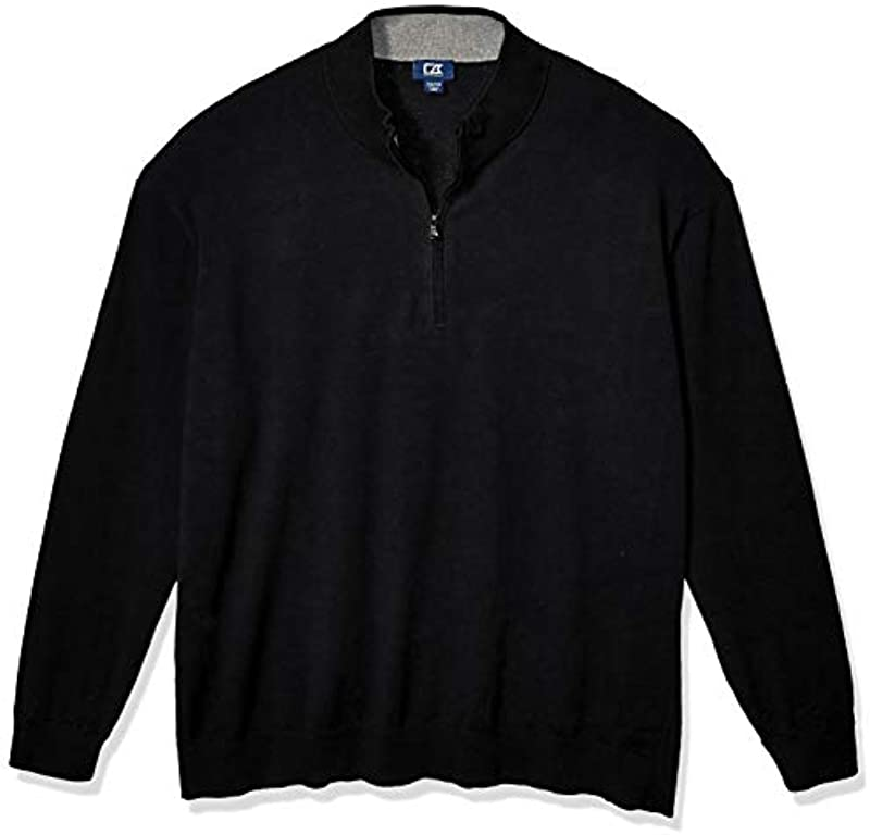 Cutter & Buck Men's Big & Tall Machine Washable Lakemont Half-Zip Sweater: Odzież