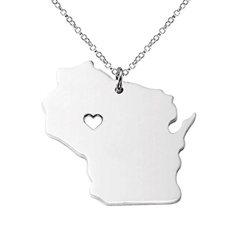 M&T 2015 Silver Tone Stainless Steel Map Pendant Necklace, We Love Wisconsin, WI