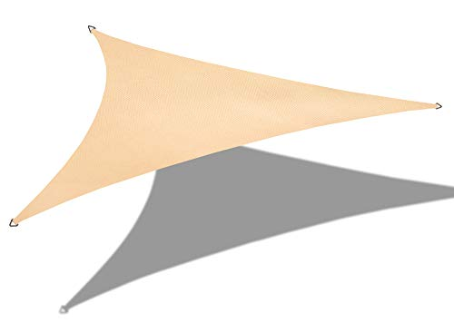 Alion Home 10' x 10' x 14' Right Triangle Waterproof Woven Sun Shade Sail (1, Beige) (Sail Triangle Right Shade)