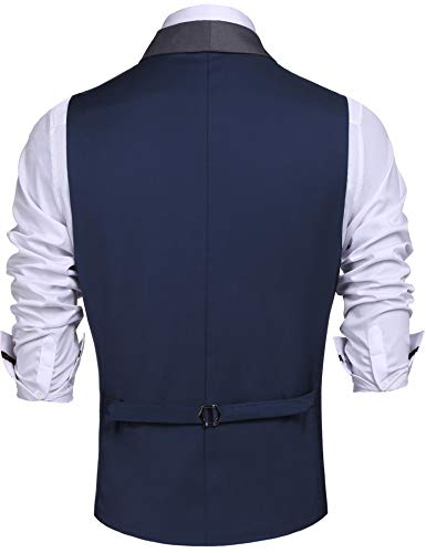 Daupanzees Mens Business Suit Vest Slim Fit 3 Pockets 3 Buttons V-Neck Wedding Sleeveless Button Down Waistcoat (Navy Blue L) by Daupanzees (Image #2)