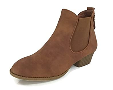 Women's Chelsea Ankle Bootie Faux Suede Leather Round Toe Flat Heel Combat