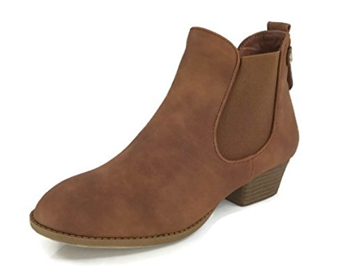 Top Moda Women's Chelsea Ankle Bootie Faux Suede Leather Round Toe Flat Heel Combat, Tan, 6