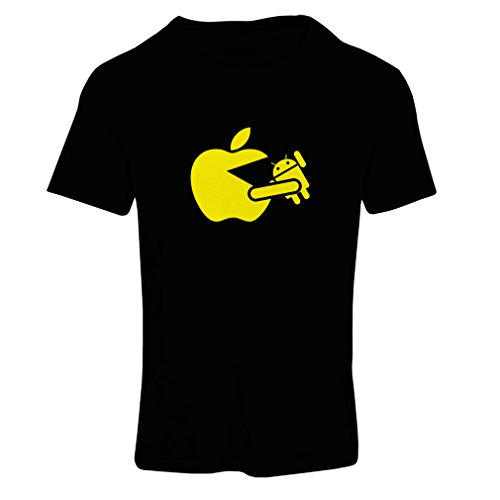 lepni.me T Shirts For Women Funny Apple Eating a Robot - Gift For Tech Fans (X-Large Black - Hut Catalog
