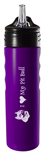 (LXG, Inc. 24oz. Stainless Steel Grip Water Bottle with Straw-I Love My Pit Bull-Purple)