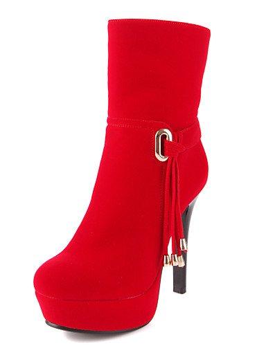 Cn38 Stiletto us7 Black Uk5 Negro Semicuero Tacón Botas 5 Punta Uk6 Rojo 5 Plataforma us8 Cn39 Xzz Casual Zapatos Eu39 Redonda De Mujer Red Eu38 AqSIw