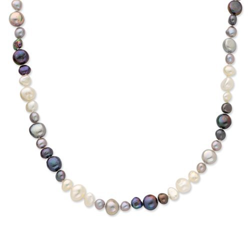 - Gold and Watches 5.5-9mm White/Grey/Black Baroque FW Cult. Pearl Necklace