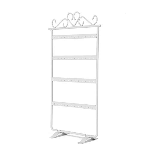 Flexzion Earring Holder 48 Holes, Metal Jewelry Organizer Hanging Display Storage Rack Tower (White)