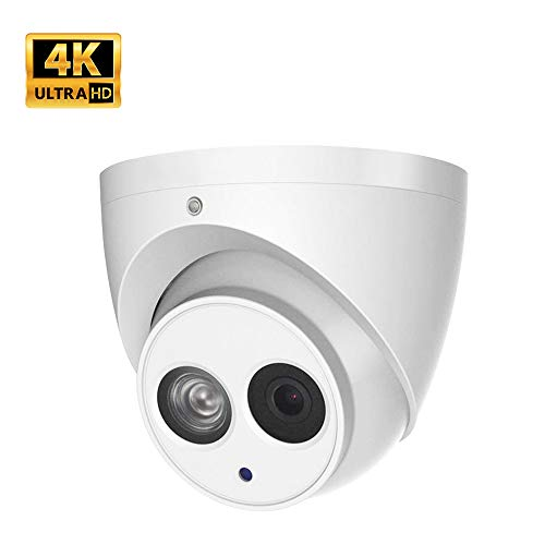 UltraHD 8MP 4K Outdoor PoE IP Camera IPC-HDW4831EM-ASE 2.8mm, 3840 X 2160, Dome Security Camera with Audio, Built-in Mic, IR 164ft Night Vision, Smart H.265+ WDR, IVS, SD Card Slot, IP67, ONVIF