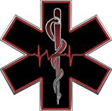 Red EMT EMS Star Of Life With Heartbeat - 2