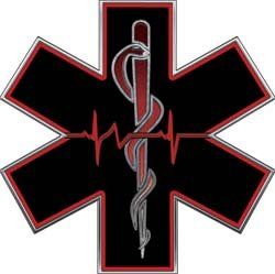Amazon Com Red Emt Ems Star Of Life With Heartbeat 2 Quot H