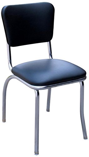 Richardson Seating 4110BLK Retro Chrome Kitchen Chair with 1