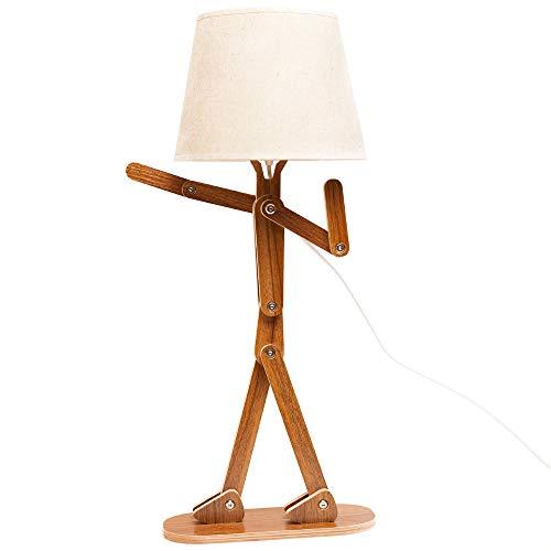 VOGLEE Novelty Cool DIY Desk Lamp for Kids Bedroom Adjustable Beside Table Lamp Swing Arm Wood Nightstand Light Living Room Dorm (Walnut)