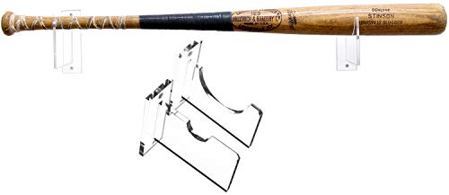 Better Display Cases Baseball Bat Wall Mount For Horizontal Display -- Sturdy Clear Acrylic Holder Fits Any Baseball or Softball Bat -- Easy To Install (A023-B-LS) (Bat Wall Display)