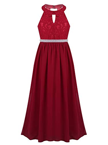 - CHICTRY Kids Girls Halter Neck Chiffon Long Party Junior Wedding Evening Prom Maxi Gown Dress Burgundy(Beaded Waist) 12