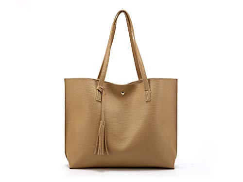 - Nodykka Women Tote Bags Top Handle Satchel Handbags PU Pebbled Leather Tassel Shoulder Purse