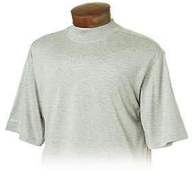 Monterey Club Mens Double Mercerized Cotton Short Sleeve Mock Neck Shirt #1170 (Heather Grey, Small) (Double Mercerized Pique Mens Shirt)