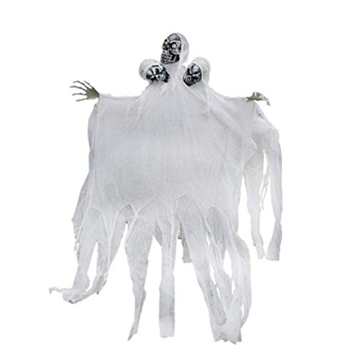 Wetietir Festival Mask Halloween Casa Embrujada Sala De Escape Accesorios Decorativos Tres Cabezas Sulku Grande Fantasma Colgante Blanco Terror Aterrador Ornamento Colgante Costume Mask