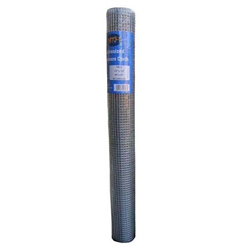 MTB Galvanized Hardware Cloth 48 Inch x 25 Foot -1/2 Inch x 1/2 Inch 19GA (Also Sold in 50' Length,24