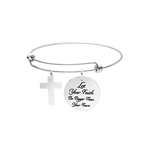 Yiyangjewelry Birthday Gift for Teen Girls Encouragement Quotes Engraved Charm Bangle Bracelet Let Your Faith Be Bigger Than Your Fear