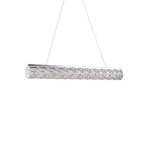 Kuzco Lighting Solaris Linear LED Diamond-Cut Clear Crystal Pendant with Chrome Metal Details