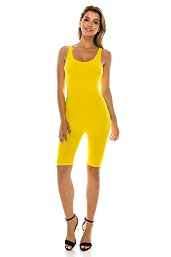C&C Women's Sexy Sleeveless Cotton Stretch Knee Length Active Yoga Bermuda Short One Piece Jumpsuit Small to 3XL (Small, Yellow)