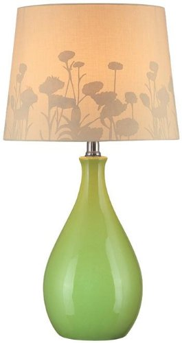 Beige Ceramic Table Lamp - Lite Source LS-21489GRN Table Lamp, Green Ceramic with Silhouette Paper Shade