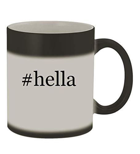 #hella - 11oz Color Changing Hashtag Sturdy Ceramic Coffee Cup Mug, Matte Black
